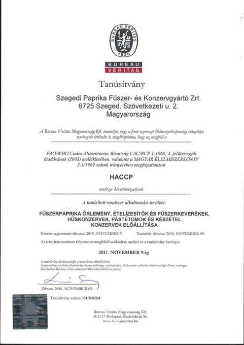 HACCP rendszer igazolása
